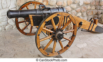 Cast gun of the eighteenth century - artillery gun. Cast...