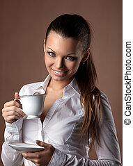 happy woman with cup of coffee smile at brown