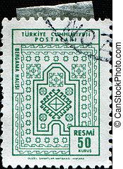 Carpets of Bergama - TURKEY - CIRCA 1966: A stamp printed in...