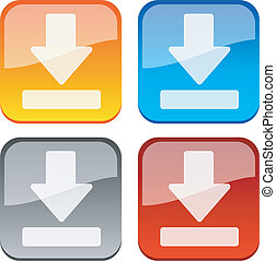 Download buttons. - Download glossy buttons. Vector...