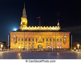 City Hall in Copenhagen, Denmark - Scenic night view of the...