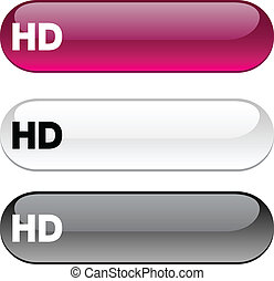 HD button. - HD glossy buttons. Three color version.