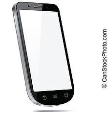 Touchscreen, 3D, smartphone, concepto