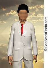 Man in white suit - Surreal Man in white suit with blurred...