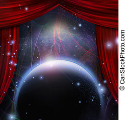 Cosmic Stage - Planet and space with stage curtians