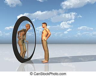 juventude, vê, futuro, próprio, espelho