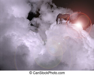 Cloudscape with horse