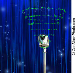 Poetry Slam - Microphone and swirling text