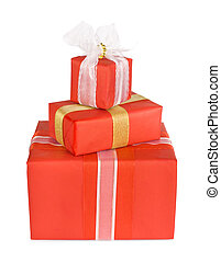 Holiday gift boxes decorated with bows and ribbons isolated on white background