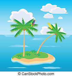 Island in ocean - Tropical island in ocean