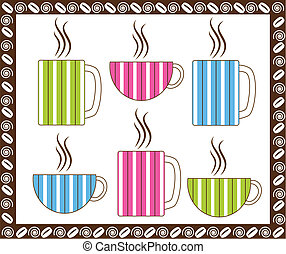 Pinstripe Coffee Cups