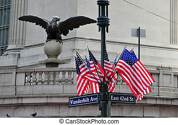 American Flags and Eagle Statue - American Flags with a...