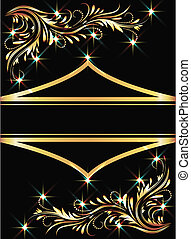 Background with golden ornament and sparkling lights
