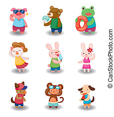 cartoon summer animal set