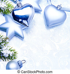 christmas silver decoration on blue background
