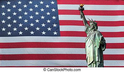 estatua, libertad, norteamericano, bandera