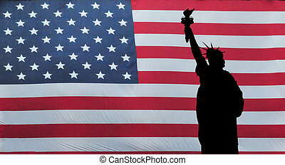 Statue of Liberty with American Flag - A silhouette of the...