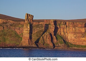 Old Man rock on Orkney Islands - Red sandstone with visible...