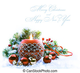 Christmas greeting card with Christmas Decorations on white...