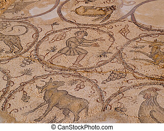 Old Roman mosaic floor - Close details of a colorful old...