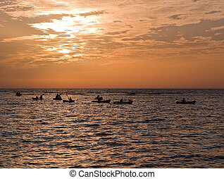 Seascape with kayaks in sunset - Wonderful seascape with...