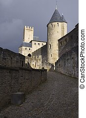 Carcassonne - Towers of medieval castle in Carcassonne,...