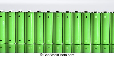 batteries - set of AA batteries lined up on a white...