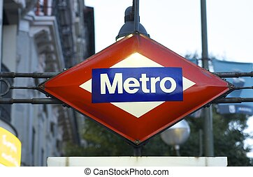 metro - Foreground of a metro signal in  Madrid, Spain