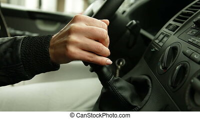 shifting gearshift - female hand shifting manual gearshift...