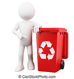 3D man showing a red bin for recycling. Rendered on a white...