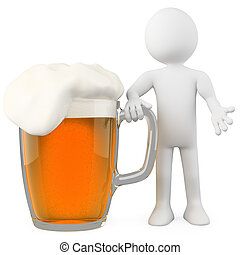 Man leaning on a lager. Rendered on a white background with...