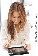 happy woman with tablet pc computer - picture of happy woman...