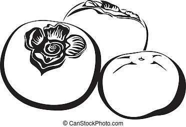 Persimmon - The contour image of three fruits persimmon