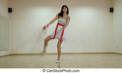 Dancing School - Woman perform modern dance at the dancing...