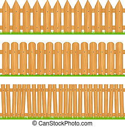 Wooden fences, vector illustration