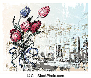 vintage illustration of Amsterdam street and tulips. Watercolor style.