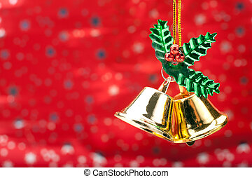 Christmas Bells - Two Gold Colored Christmas Bells Against A...
