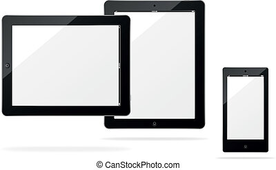 Vector tablet computer and smartphone with shadow