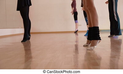 Fitness dance - a group of women exercising in dance studio...