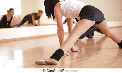 fitness club - adults women doing exercises at the fitness...