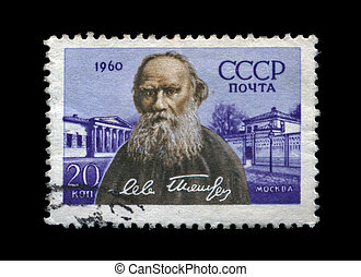 USSR - CIRCA 1960: cancelled stamp printed in USSR, shows famous russian writer Lev Tolstoy, circa 1960. vintage post stamp on black background.