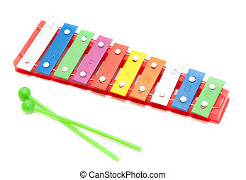 Color xylophone toy isolated on white background