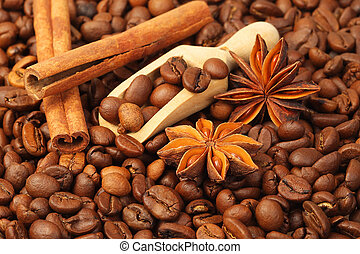 Coffee beans, anise and vanilla