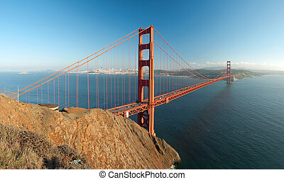 The Golden Gate Bridge in San Francisco sunset panorama