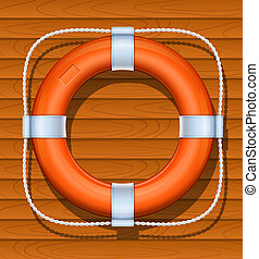 life buoy on wood background