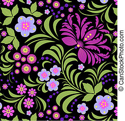 abstract flower - Illustration of seamless background with...