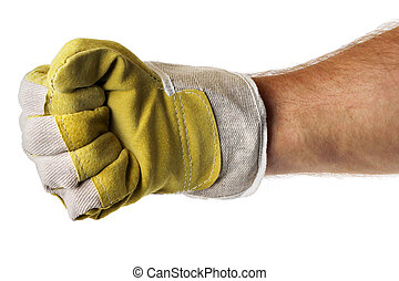Strong worker hand glove fist - Strong male worker hand...