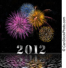 2012 Firework - Illustration with firework for the turn of...