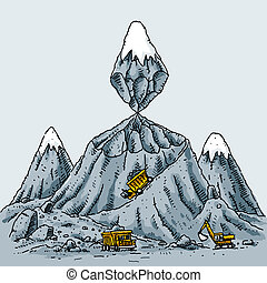 Mountain Mining - A cartoon mountain is mined from the...