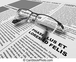 Eye glasses and newspaper